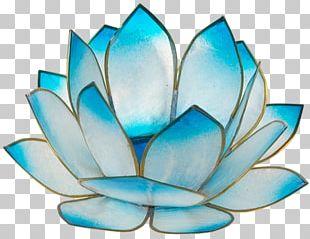 Turquoise Nelumbo Nucifera Glass Sunrise Candle PNG