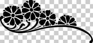 Flower Black And White Abstract PNG