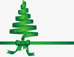 Green Ribbon Christmas Tree PNG