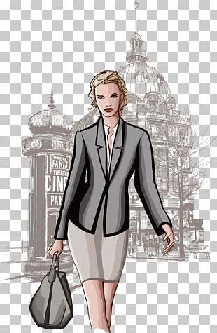 Paris Woman Illustration PNG