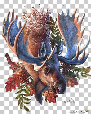 Moose Deer Watercolor Painting PNG