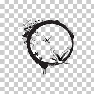 Ancient Ink Aesthetic Circle PNG