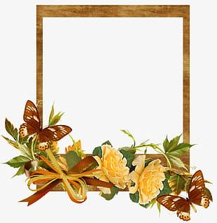 Autumn Flowers Frame PNG