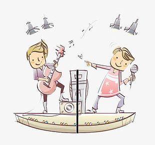 Cartoon Kids Playing Music PNG
