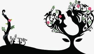 The Tree Valentines Day Couple Silhouette Poster Background PNG