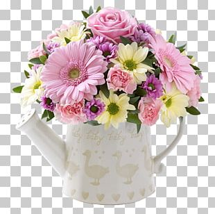 Cut Flowers Watering Cans Pink Flower Bouquet PNG