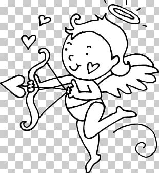 Cupid Valentines Day Black And White Heart PNG