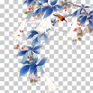 Gongbi Bird-and-flower Painting Chinese Painting Hanging Scroll PNG