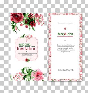 Wedding Invitation Watercolor Painting Flower PNG
