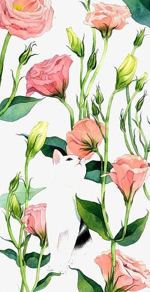 Hand-painted Flowers Background PNG