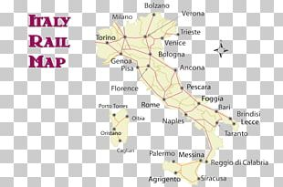 Italy Train Rail Transport Map Travel PNG