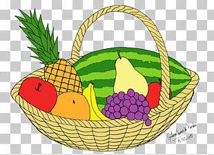 Basket Of Fruit Vegetarian Cuisine Drawing PNG