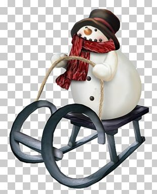 Snowman Sled Skiing Winter PNG