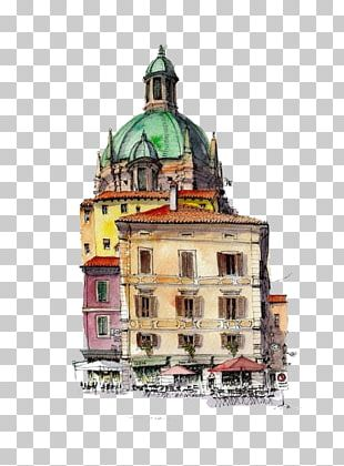 Watercolor Painting Drawing Architecture Sketch PNG