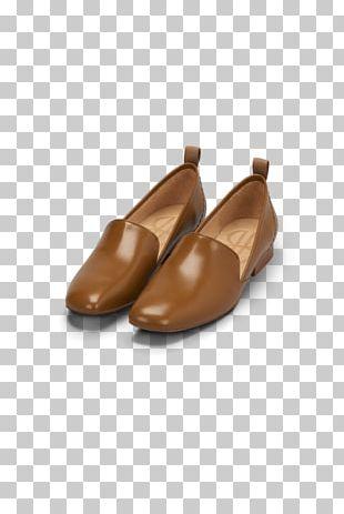 Slip-on Shoe Leather Sandal Caramel Color PNG