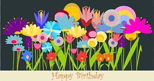 Birthday Flower Greeting Card Wish PNG