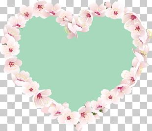 Heart Pink Border Flowers PNG