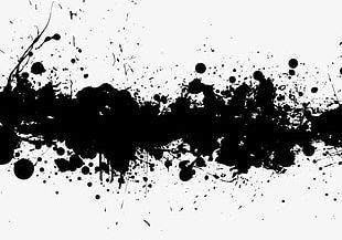 Transverse Black Ink Splash Effect PNG