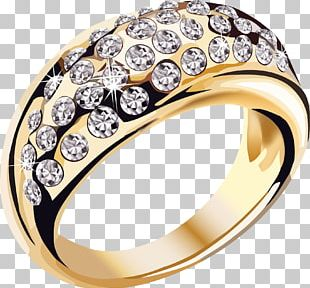 Gold Diamonds Ring Jewelry PNG
