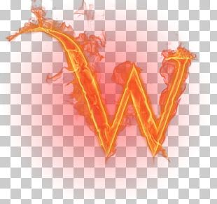 W Letter English Alphabet Flame PNG