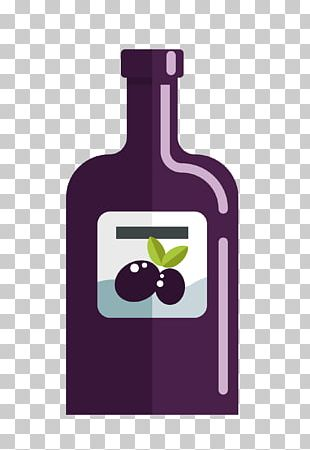 Red Wine Purple Bottle Drawing PNG