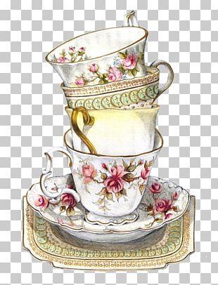 Green Tea Teacup Saucer Tea Party PNG