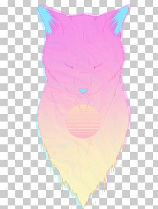 Whiskers Cat Cartoon Pink M PNG