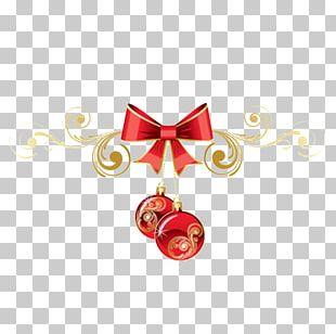 Ribbon Christmas Decoration Gold PNG