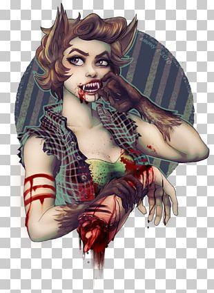 Gray Wolf Pin-up Girl Werewolf Tattoo PNG