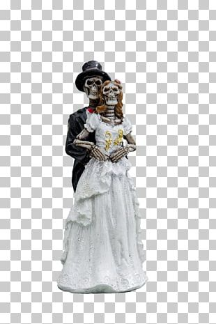 Skeleton Bride And Groom Holding PNG