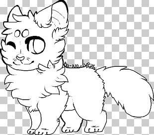 Whiskers Cat Line Art Drawing PNG