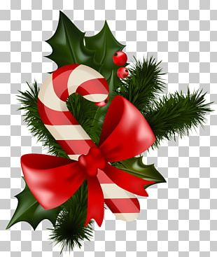 Candy Cane Mistletoe Christmas Decoration PNG
