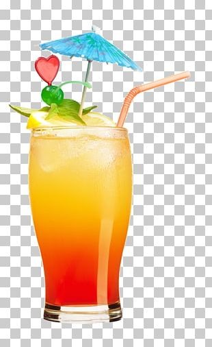 Tequila Sunrise Cocktail Orange Juice Malibu PNG