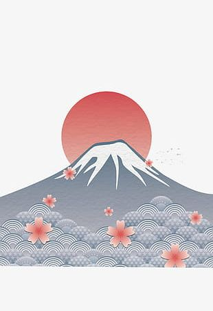 Hand Painted Mount Fuji PNG