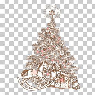 Christmas Tree Christmas Card Illustration PNG