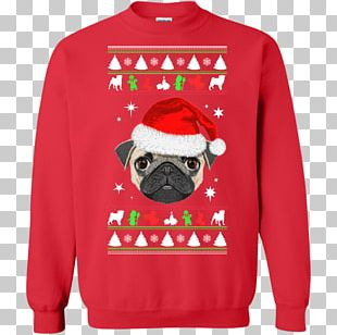 Pug T-shirt Hoodie Christmas Jumper Sweater PNG