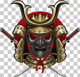T-shirt Samurai Mask Katana Decal PNG