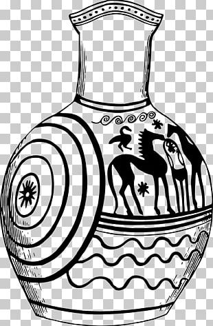 Black And White Line Art Vase Drawing Ancient Greek Art PNG