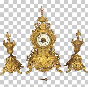 Mantel Clock Antique Porcelain Rococo PNG