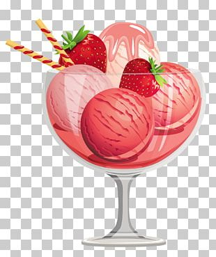 Strawberry Ice Cream Sundae Ice Cream Cone PNG
