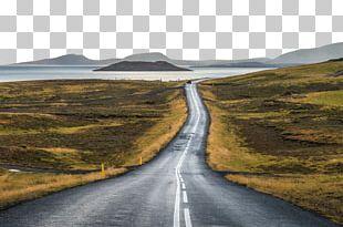 Iceland Road Landscape Illustration PNG