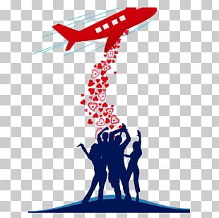 Airplane Love Valentines Day Illustration PNG
