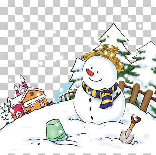 Snowman Cartoon Illustration PNG