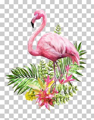 Flamingo Watercolor Painting Poster PNG
