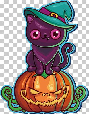 Black Cat Halloween Party Pumpkin PNG