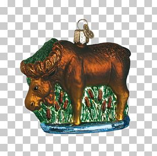 Old World Christmas Munching Moose Glass Blown Ornament Christmas Ornament Santa Claus Christmas Day PNG