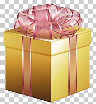Large Gold Gift Box With Pink Bow PNG