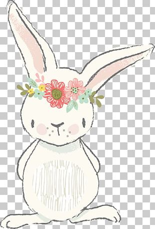 Easter Bunny Rabbit Watercolor Painting PNG