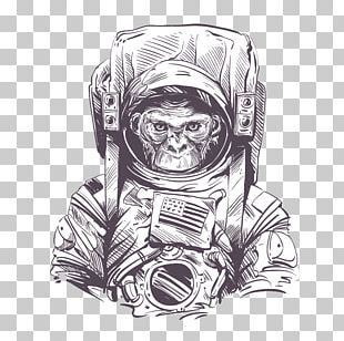 Space Suit Astronaut Monkeys And Apes In Space Drawing PNG