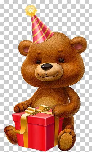 Teddy Bear Birthday Gift PNG